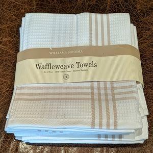 New Williams-Sonoma set of 4 Waffleweave Towels